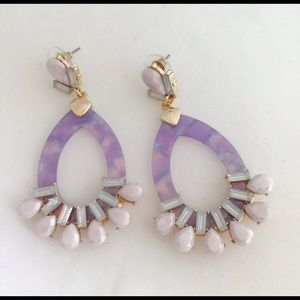 Design Lab Acetate Oval Dangle Lilac Earrings